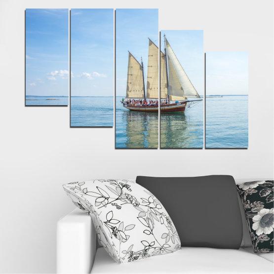 Декоративни панели и картини от канава - от 5 части №0633 » Тюркоаз, Сив, Бял » Вода, Море, Кораб, Превозно средство, Лодка Form #7