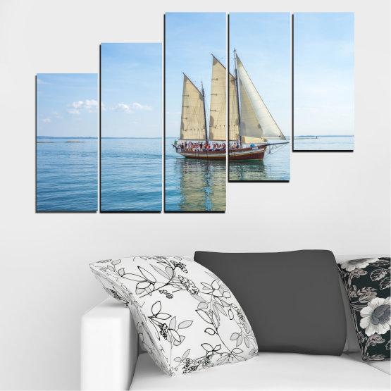 Декоративни панели и картини от канава - от 5 части №0633 » Тюркоаз, Сив, Бял » Вода, Море, Кораб, Превозно средство, Лодка Form #8