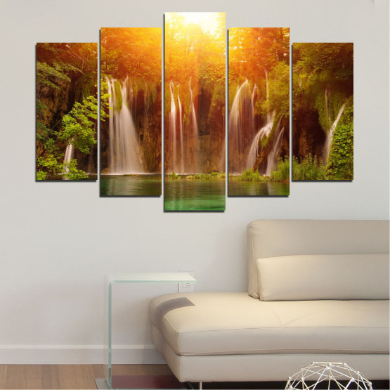Canvas prints & wall decorative panels - 5 pieces №0634 » Green, Yellow, Orange, Brown » Nature, Waterfall, Landscape, Forest, Water, Sunset Form #1