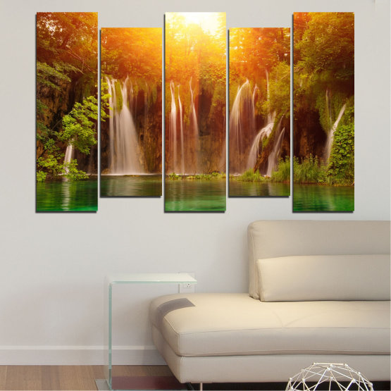 Canvas prints & wall decorative panels - 5 pieces №0634 » Green, Yellow, Orange, Brown » Nature, Waterfall, Landscape, Forest, Water, Sunset Form #3