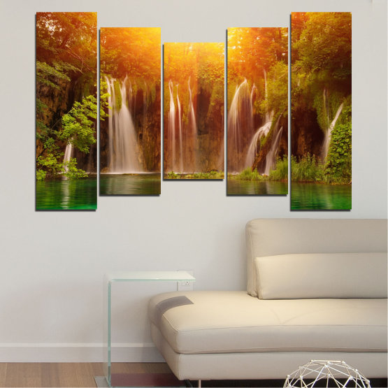 Canvas prints & wall decorative panels - 5 pieces №0634 » Green, Yellow, Orange, Brown » Nature, Waterfall, Landscape, Forest, Water, Sunset Form #4