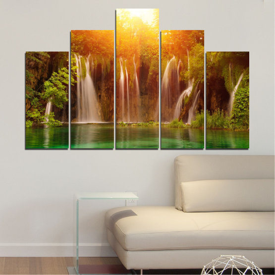 Canvas prints & wall decorative panels - 5 pieces №0634 » Green, Yellow, Orange, Brown » Nature, Waterfall, Landscape, Forest, Water, Sunset Form #5