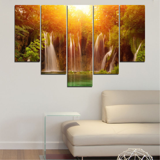Canvas prints & wall decorative panels - 5 pieces №0634 » Green, Yellow, Orange, Brown » Nature, Waterfall, Landscape, Forest, Water, Sunset Form #6