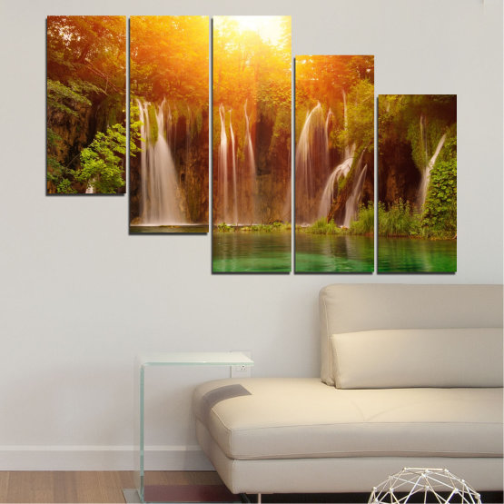 Canvas prints & wall decorative panels - 5 pieces №0634 » Green, Yellow, Orange, Brown » Nature, Waterfall, Landscape, Forest, Water, Sunset Form #7
