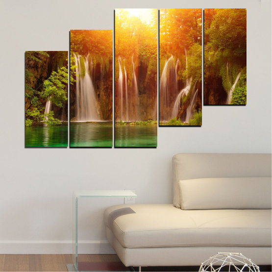 Canvas prints & wall decorative panels - 5 pieces №0634 » Green, Yellow, Orange, Brown » Nature, Waterfall, Landscape, Forest, Water, Sunset Form #8