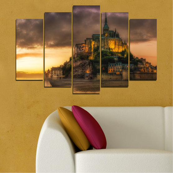 Canvas prints & wall decorative panels - 5 pieces №0635 » Orange, Brown, Black, Dark grey » Landmark, Island, Mont saint michel, France Form #1