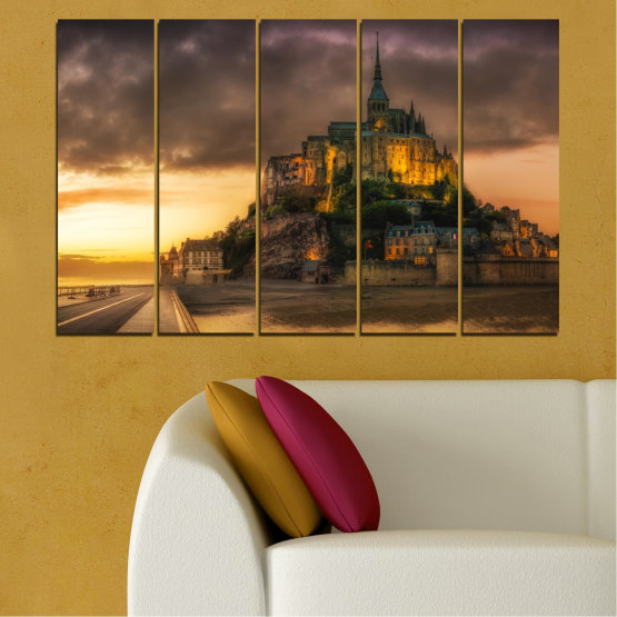 Canvas prints & wall decorative panels - 5 pieces №0635 » Orange, Brown, Black, Dark grey » Landmark, Island, Mont saint michel, France Form #2