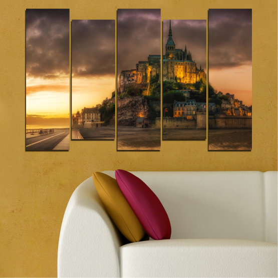 Canvas prints & wall decorative panels - 5 pieces №0635 » Orange, Brown, Black, Dark grey » Landmark, Island, Mont saint michel, France Form #3