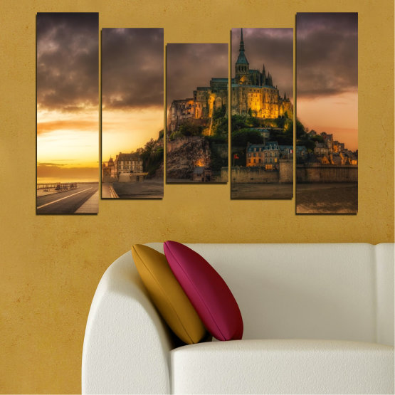Canvas prints & wall decorative panels - 5 pieces №0635 » Orange, Brown, Black, Dark grey » Landmark, Island, Mont saint michel, France Form #4