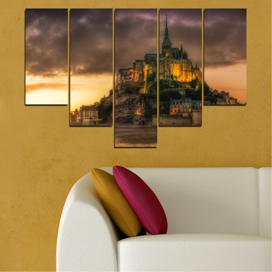Canvas prints & wall decorative panels - 5 pieces №0635 » Orange, Brown, Black, Dark grey » Landmark, Island, Mont saint michel, France Form #6