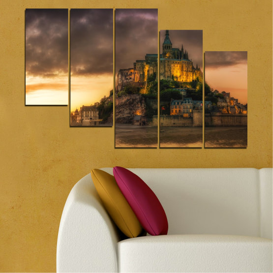 Canvas prints & wall decorative panels - 5 pieces №0635 » Orange, Brown, Black, Dark grey » Landmark, Island, Mont saint michel, France Form #7