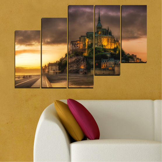 Canvas prints & wall decorative panels - 5 pieces №0635 » Orange, Brown, Black, Dark grey » Landmark, Island, Mont saint michel, France Form #8