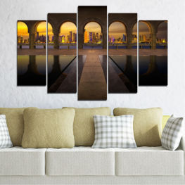 City, View, Night, Capital, Qatar » Yellow, Brown, Black, Dark grey