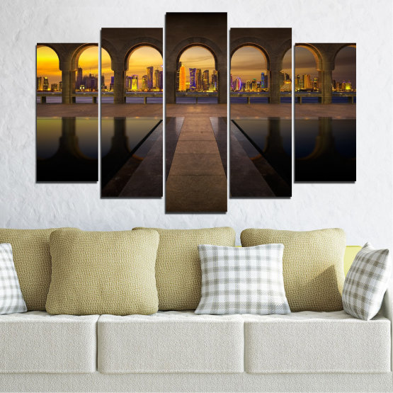 Canvas prints & wall decorative panels - 5 pieces №0636 » Yellow, Brown, Black, Dark grey » City, View, Night, Capital, Qatar Form #1