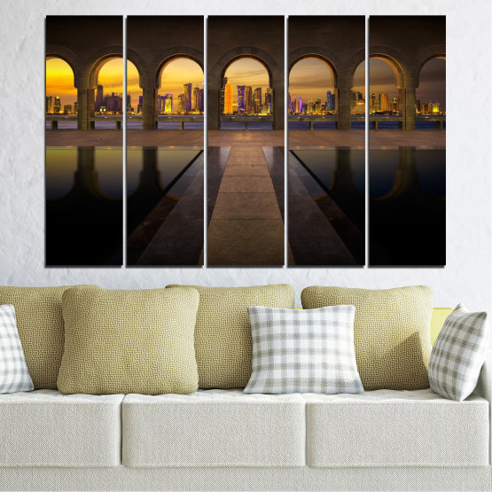 Canvas prints & wall decorative panels - 5 pieces №0636 » Yellow, Brown, Black, Dark grey » City, View, Night, Capital, Qatar Form #2