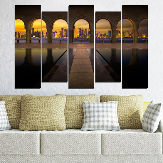Canvas prints & wall decorative panels - 5 pieces №0636 » Yellow, Brown, Black, Dark grey » City, View, Night, Capital, Qatar Form #3
