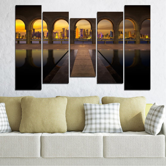 Canvas prints & wall decorative panels - 5 pieces №0636 » Yellow, Brown, Black, Dark grey » City, View, Night, Capital, Qatar Form #4