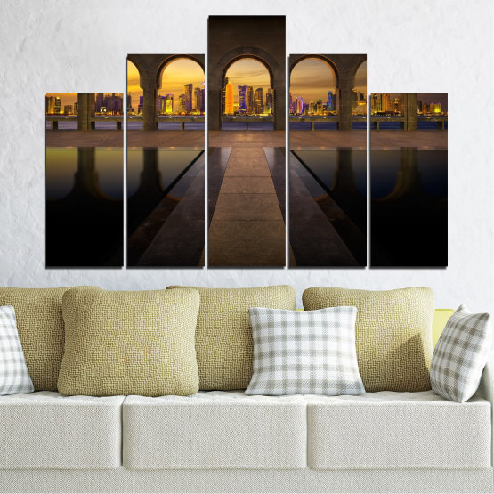 Canvas prints & wall decorative panels - 5 pieces №0636 » Yellow, Brown, Black, Dark grey » City, View, Night, Capital, Qatar Form #5