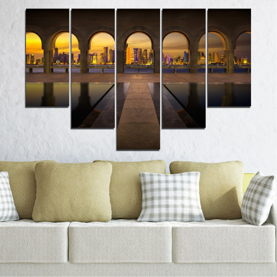 Canvas prints & wall decorative panels - 5 pieces №0636 » Yellow, Brown, Black, Dark grey » City, View, Night, Capital, Qatar Form #6