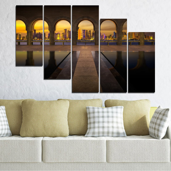 Canvas prints & wall decorative panels - 5 pieces №0636 » Yellow, Brown, Black, Dark grey » City, View, Night, Capital, Qatar Form #7