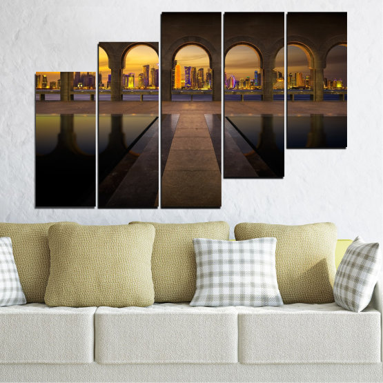 Canvas prints & wall decorative panels - 5 pieces №0636 » Yellow, Brown, Black, Dark grey » City, View, Night, Capital, Qatar Form #8
