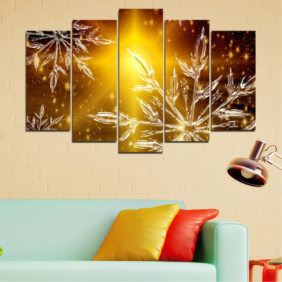 Canvas prints & wall decorative panels - 5 pieces №0637 » Red, Brown, Black, Beige » Collage, Snow, Winter, Holiday Form #1