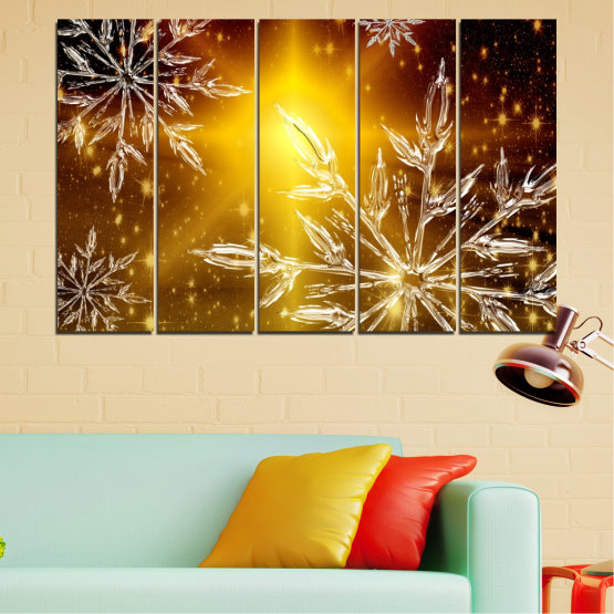 Canvas prints & wall decorative panels - 5 pieces №0637 » Red, Brown, Black, Beige » Collage, Snow, Winter, Holiday Form #2