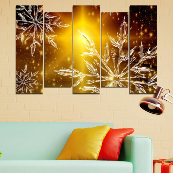 Canvas prints & wall decorative panels - 5 pieces №0637 » Red, Brown, Black, Beige » Collage, Snow, Winter, Holiday Form #3