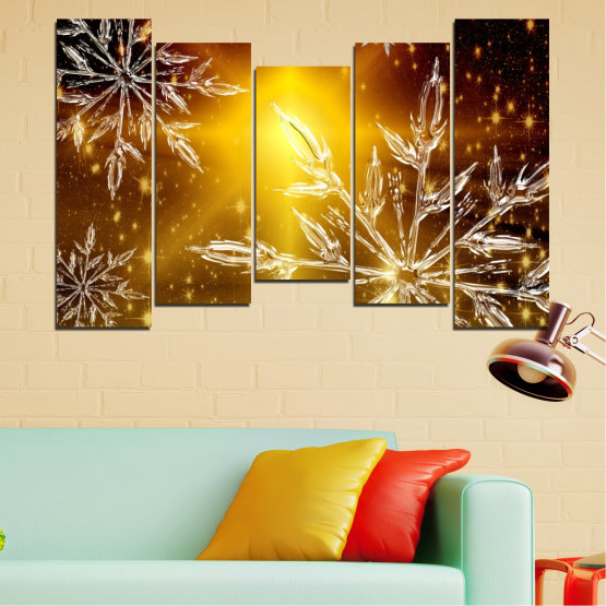 Canvas prints & wall decorative panels - 5 pieces №0637 » Red, Brown, Black, Beige » Collage, Snow, Winter, Holiday Form #4