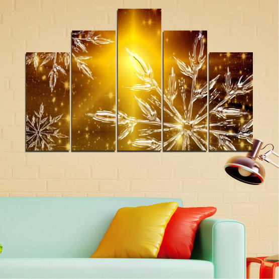 Canvas prints & wall decorative panels - 5 pieces №0637 » Red, Brown, Black, Beige » Collage, Snow, Winter, Holiday Form #5