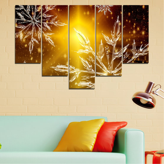 Canvas prints & wall decorative panels - 5 pieces №0637 » Red, Brown, Black, Beige » Collage, Snow, Winter, Holiday Form #6