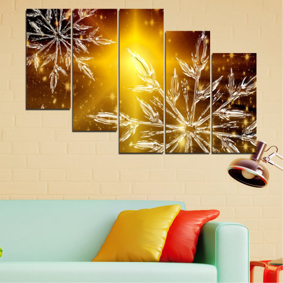 Canvas prints & wall decorative panels - 5 pieces №0637 » Red, Brown, Black, Beige » Collage, Snow, Winter, Holiday Form #7