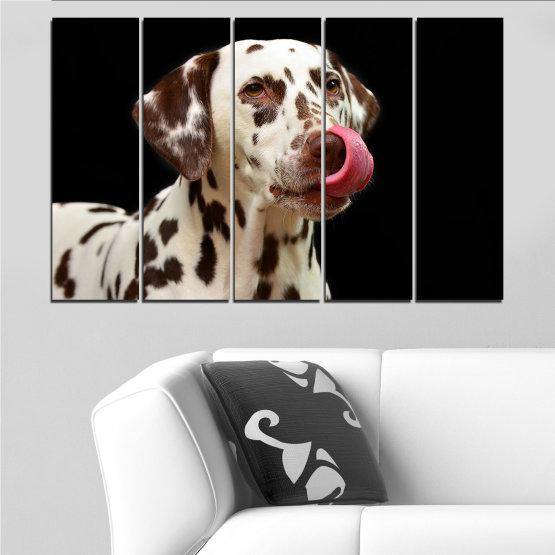 Декоративни панели и картини от канава - от 5 части №0639 » Кафяв, Черен, Сив » Животни, Куче, Далматинец Form #2