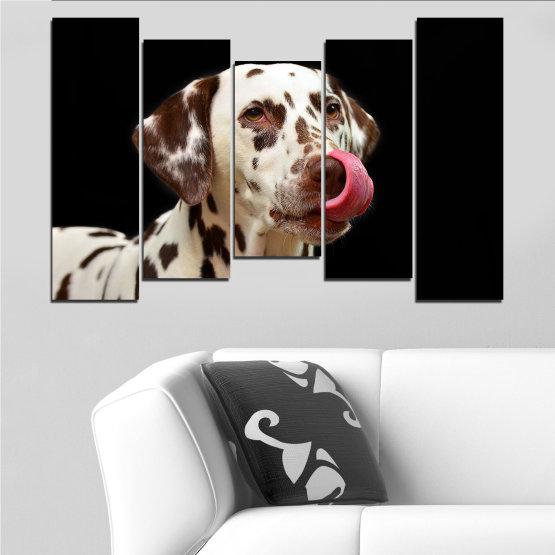 Декоративни панели и картини от канава - от 5 части №0639 » Кафяв, Черен, Сив » Животни, Куче, Далматинец Form #4