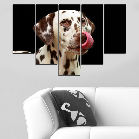 Декоративни панели и картини от канава - от 5 части №0639 » Кафяв, Черен, Сив » Животни, Куче, Далматинец Form #6