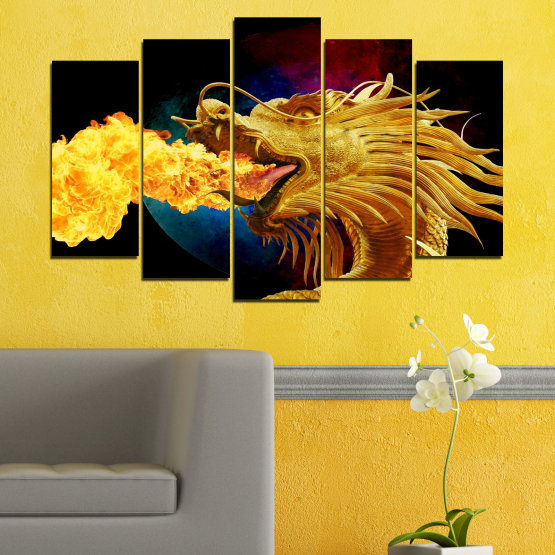 Canvas prints & wall decorative panels - 5 pieces №0640 » Red, Yellow, Brown, Black » Animal, Drawing, Fire, Dragon Form #1