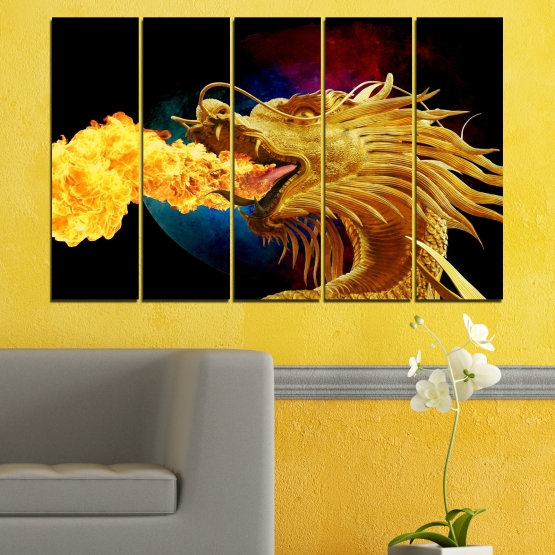 Canvas prints & wall decorative panels - 5 pieces №0640 » Red, Yellow, Brown, Black » Animal, Drawing, Fire, Dragon Form #2