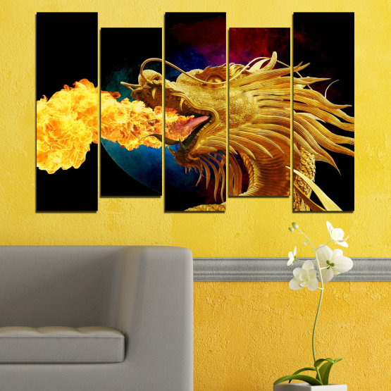 Canvas prints & wall decorative panels - 5 pieces №0640 » Red, Yellow, Brown, Black » Animal, Drawing, Fire, Dragon Form #3