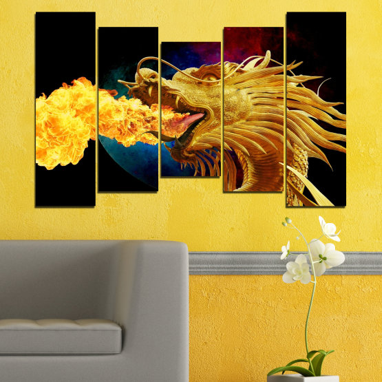 Canvas prints & wall decorative panels - 5 pieces №0640 » Red, Yellow, Brown, Black » Animal, Drawing, Fire, Dragon Form #4