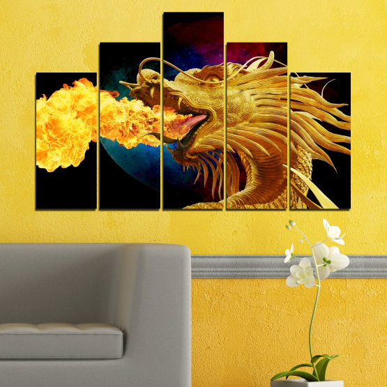 Canvas prints & wall decorative panels - 5 pieces №0640 » Red, Yellow, Brown, Black » Animal, Drawing, Fire, Dragon Form #5
