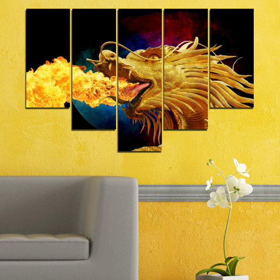 Canvas prints & wall decorative panels - 5 pieces №0640 » Red, Yellow, Brown, Black » Animal, Drawing, Fire, Dragon Form #6