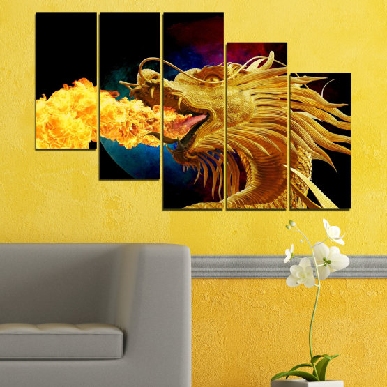 Canvas prints & wall decorative panels - 5 pieces №0640 » Red, Yellow, Brown, Black » Animal, Drawing, Fire, Dragon Form #7