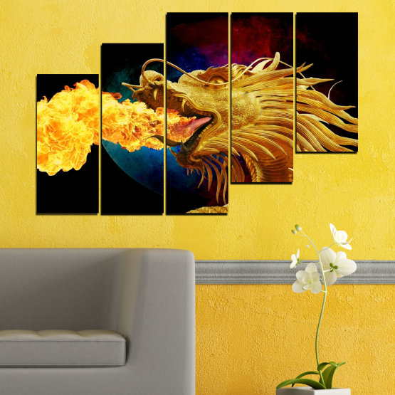 Canvas prints & wall decorative panels - 5 pieces №0640 » Red, Yellow, Brown, Black » Animal, Drawing, Fire, Dragon Form #8