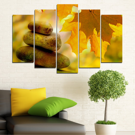 Canvas prints & wall decorative panels - 5 pieces №0641 » Green, Orange, Brown » Stones, Tree, Autumn, Leaf Form #1