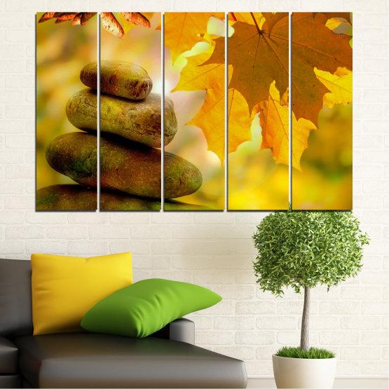Canvas prints & wall decorative panels - 5 pieces №0641 » Green, Orange, Brown » Stones, Tree, Autumn, Leaf Form #2