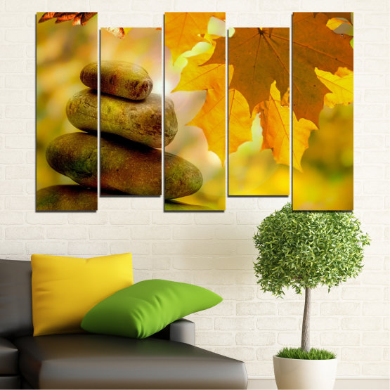Εκτύπωση σε καμβά και διακοσμητικά πάνελ τοίχου - 5 τεμάχια №0641 » Πράσινος, Πορτοκάλι, Καστανός » Δέντρο, Πέτρες, Φθινόπωρο, Φύλλο Form #3