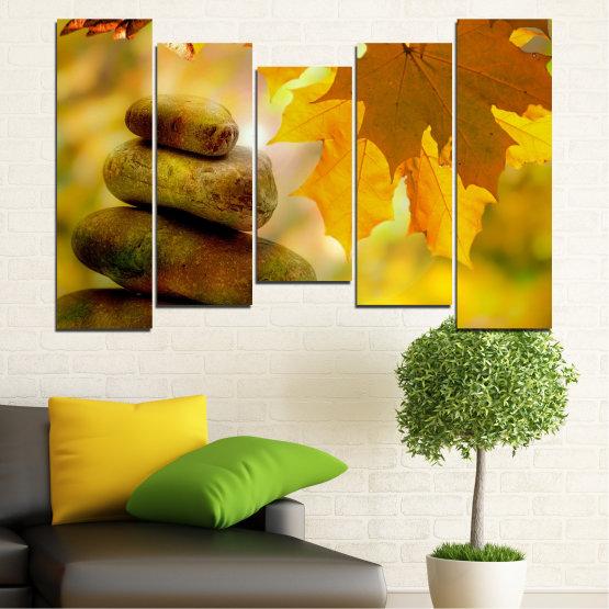 Canvas prints & wall decorative panels - 5 pieces №0641 » Green, Orange, Brown » Stones, Tree, Autumn, Leaf Form #4