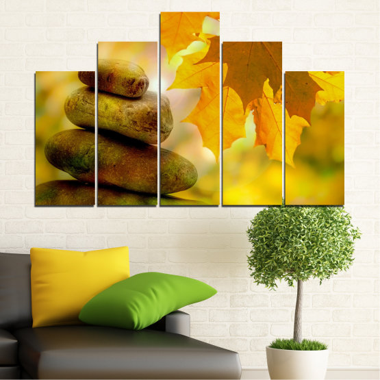 Εκτύπωση σε καμβά και διακοσμητικά πάνελ τοίχου - 5 τεμάχια №0641 » Πράσινος, Πορτοκάλι, Καστανός » Δέντρο, Πέτρες, Φθινόπωρο, Φύλλο Form #5