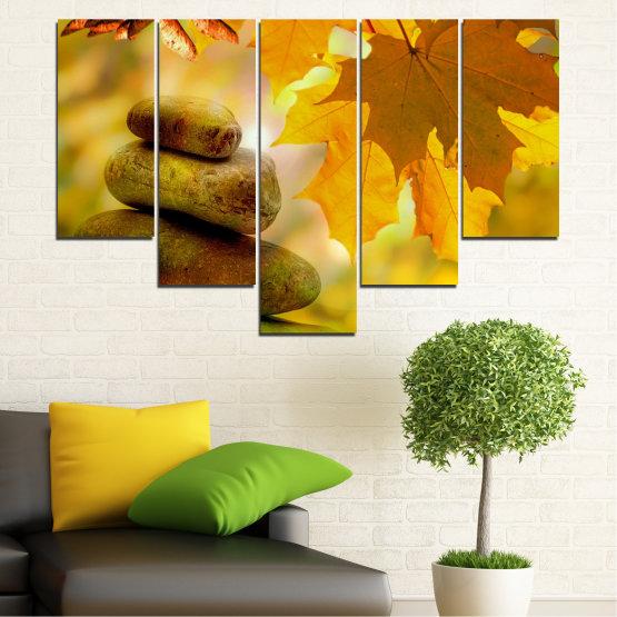Εκτύπωση σε καμβά και διακοσμητικά πάνελ τοίχου - 5 τεμάχια №0641 » Πράσινος, Πορτοκάλι, Καστανός » Δέντρο, Πέτρες, Φθινόπωρο, Φύλλο Form #6