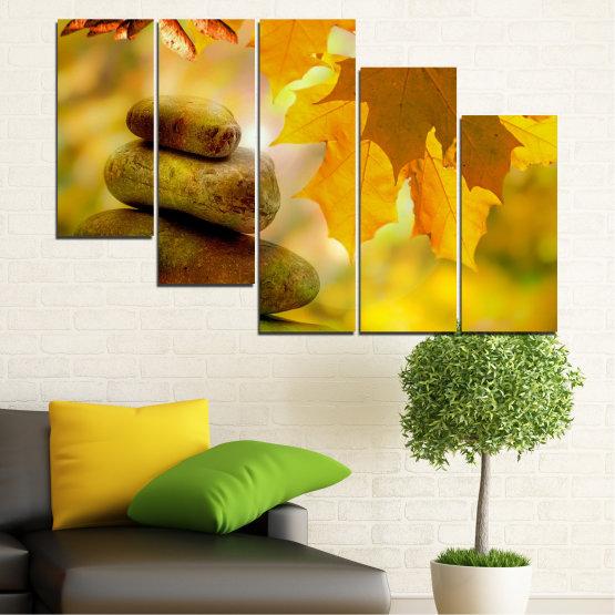 Canvas prints & wall decorative panels - 5 pieces №0641 » Green, Orange, Brown » Stones, Tree, Autumn, Leaf Form #7